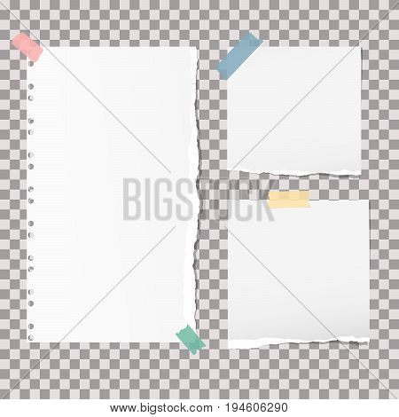 White note, notebook, copybook paper strips stuck with colorful sticky tape on grey squared background