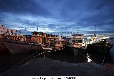 KOTA KINABALU MALAYSIA- 24 JUN 2017: Commercial fishing boats in the morning at Kota KinabaluSabah. The fisheries industries produce about 200000 metric tons of fish worth about 700 Ringgit annually.