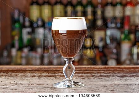 Drink Viennese coffee non-alcoholic drink based on coffee with the addition of melted black chocolate and foam cream