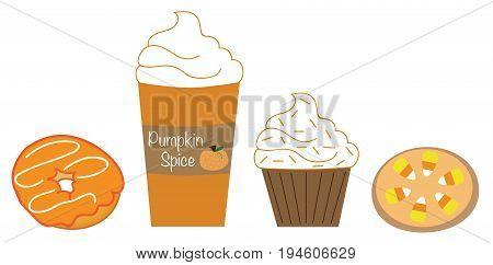 Pumpkin Pie Spice Goodies Donut Coffee Cupcake Cookie