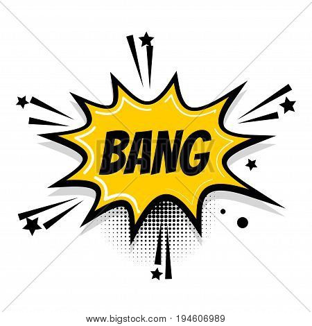 Lettering bang boom star. Comics book balloon. Bubble icon speech phrase. Cartoon exclusive font label tag expression. Comic text sound effects. Sounds vector illustration.