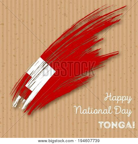 Tonga Independence Day Patriotic Design. Expressive Brush Stroke In National Flag Colors On Kraft Pa