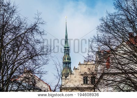 Saint Peters Lutheran church in Riga, Latvia. View to Old Town from the 13th January street