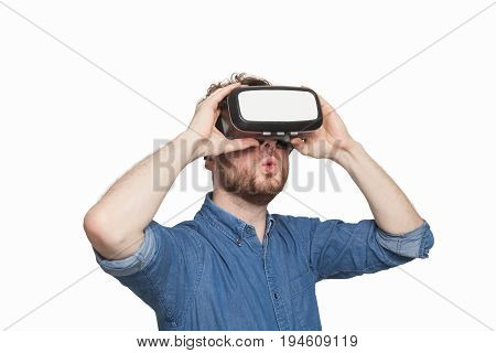Man Wearing Virtual Reality Goggles