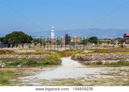 Lighthouse in Archeological park in Paphos, Cyprus