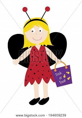 Happy Halloween Holiday Ladybug Costume with Goodie Bag