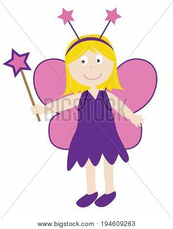 Happy Halloween Holiday  Cute Fairy With Wand