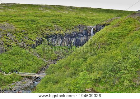 Famous Icelandic Svartifoss waterfall in the basalt (whinstone) canyon placed in Vatnajökull National Park in the eastern Iceland