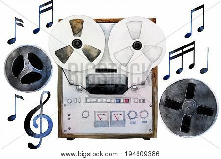 Musical devices of 60s, 70s, 80s, 90s.  Watercolor reel tape recorder. Design elements isolated on white background