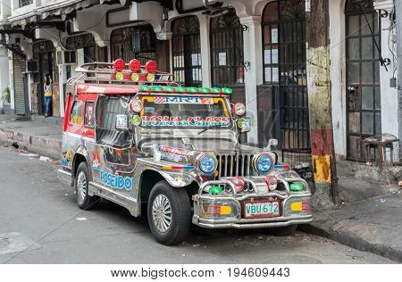 Manila Philippines - 6 March 2016. Jeepney on the Manila Philippines. Jeepney is a most popular public transport on Philippines.