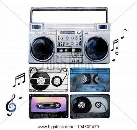 Musical devices of 60s, 70s, 80s, 90s. Watercolor tape recorder and cassettes. Design elements isolated on white background