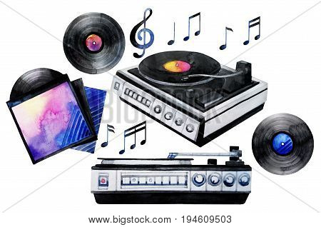 Musical devices of 60s, 70s, 80s, 90s. Watercolor vinyl turntable and records. Hand painted design elements isolated on white background