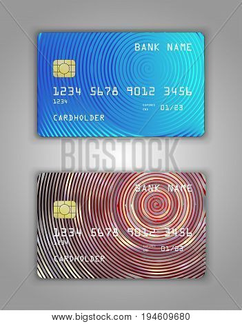Vector Set Realistic Credit Bank Card Mockup. Red, Blue Gradient Spiral Pattern