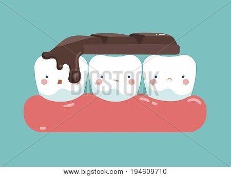 Chocolate bar on top of teeth , tooth and teeth of dental concept