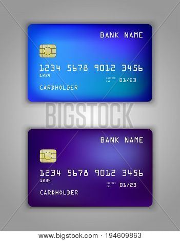 Vector Set Realistic Credit Bank Card Mockup. Gradient Spiral Pattern