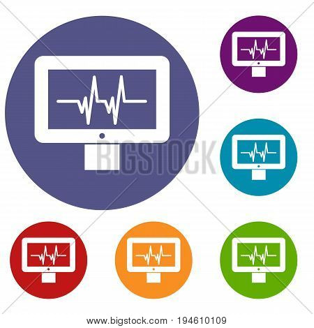 Electrocardiogram monitor icons set in flat circle reb, blue and green color for web