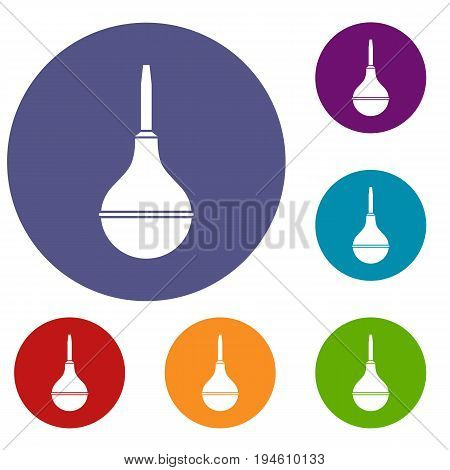 Medical pear icons set in flat circle reb, blue and green color for web