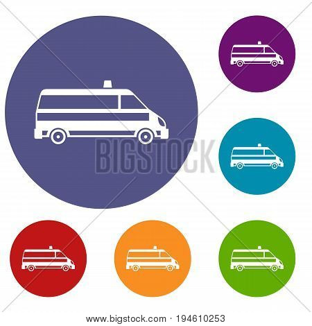 Ambulance car icons set in flat circle reb, blue and green color for web