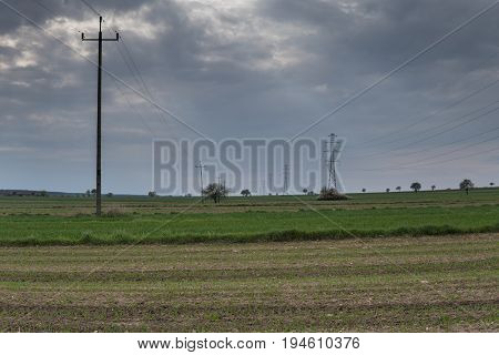 Fields With Power Lines