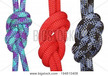 three eight knots with different ropes isolated on white background