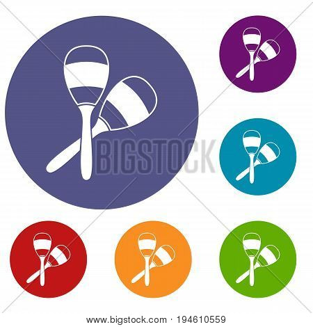 Maracas icons set in flat circle reb, blue and green color for web