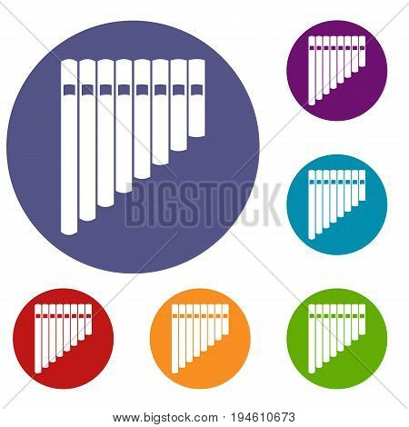 Pan flute icons set in flat circle reb, blue and green color for web