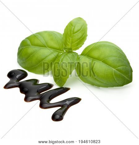 Balsamic vinegar cream and basil leaves isolated on white background. Italian salad dressing, sauce.