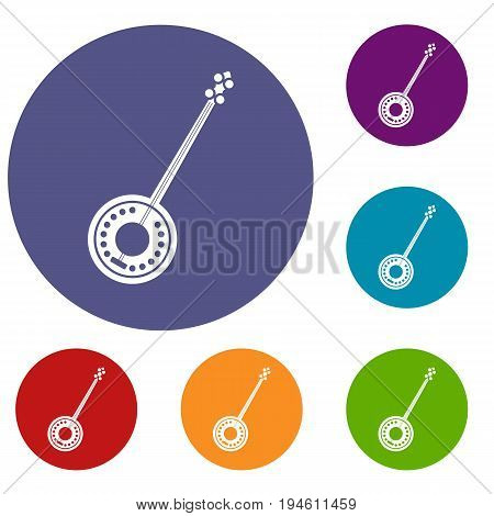 Banjo icons set in flat circle reb, blue and green color for web
