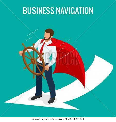 Isometric Business navigation concept. Businessman at the helm of rides on the arrow. Good direction. Control and right direction vector illustration