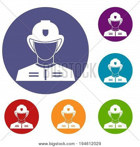 Firefighter icons set in flat circle reb, blue and green color for web