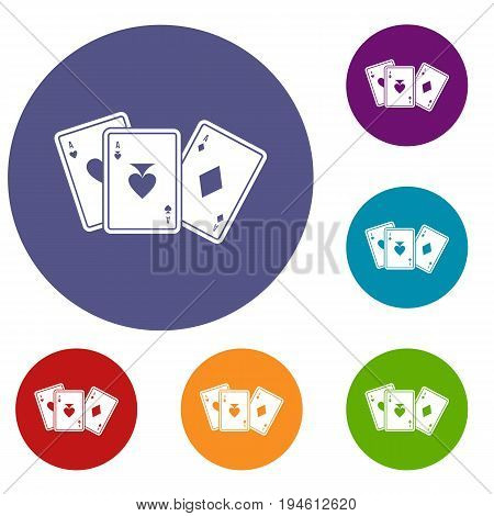 Playing cards icons set in flat circle reb, blue and green color for web