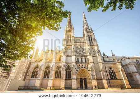 Morning view on the beautiful saint Pierre cathedral in Bordeaux city, France