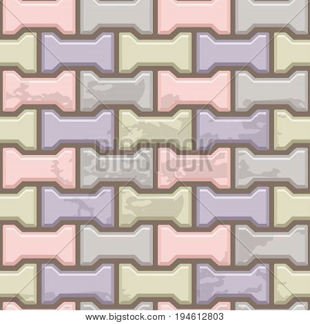 Colored Concrete H shaped paving slabs surface. Vector Seamless texture backgrounds