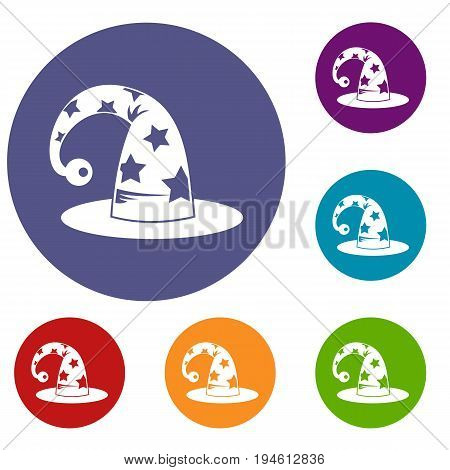 Wizards hat icons set in flat circle reb, blue and green color for web