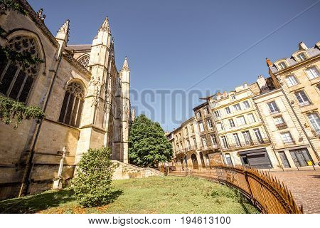 Morning view on the beautiful saint Pierre cathedral and old buildings in Bordeaux city, France