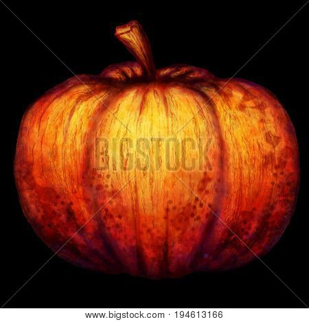the big orange pumpkin, black background, helloween,