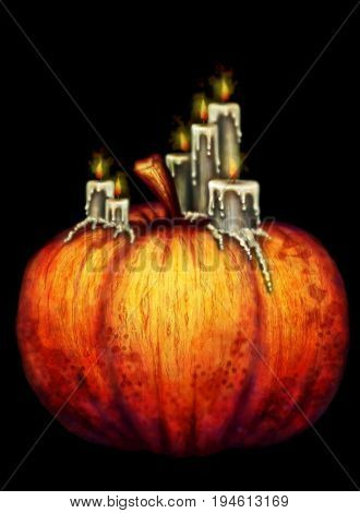 the big orange pumpkin, black background, helloween, plavlenye candles