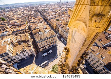 Aerial cityscape view on the old town of Bordeaux city during the sunny day in France
