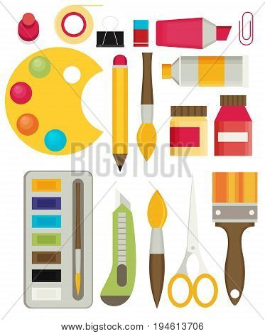 Colored flat design vector illustration icons set of art supplies art instruments for painting drawing sketching isolated on bright stylish background