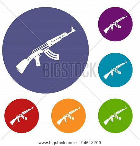 Submachine gun icons set in flat circle reb, blue and green color for web