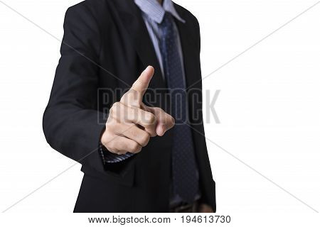 Businessman hand pointing gesture isolated on white background.