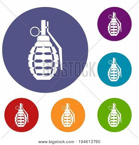 Hand grenade, bomb explosion icons set in flat circle reb, blue and green color for web