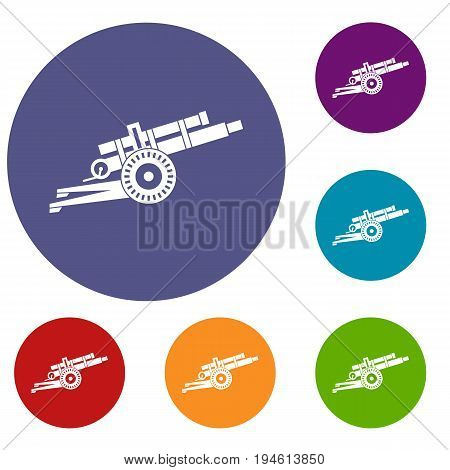 Artillery gun icons set in flat circle reb, blue and green color for web