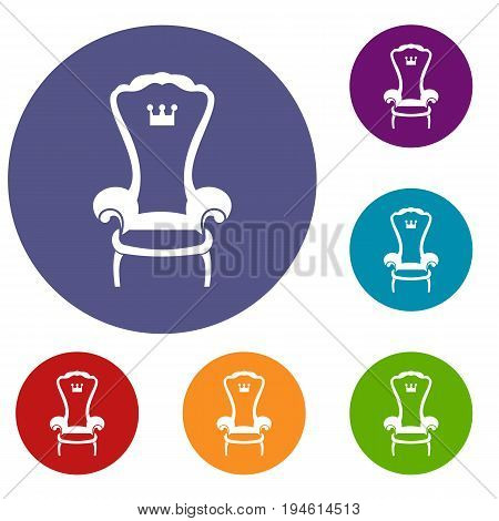 King throne chair icons set in flat circle reb, blue and green color for web