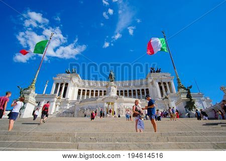 Roma, Italy - July, 2, 2017: Victor Emmanuel II monument on Capitol Hill in a center of Roma