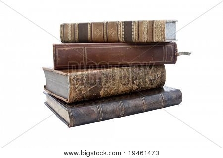 stack of old antique books