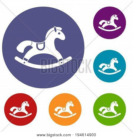 Rocking horse icons set in flat circle reb, blue and green color for web