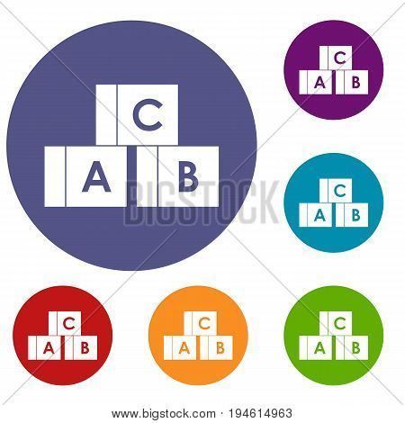 Alphabet cubes with letters A, B, C icons set in flat circle reb, blue and green color for web