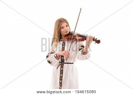 Young woman in ukrainian folk costume with violin isolated on white background. StudMiss Kyiv 2017