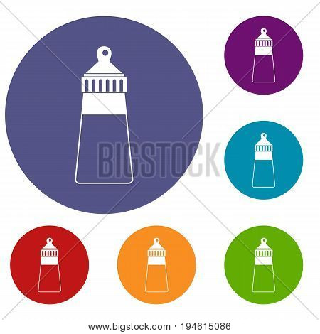Baby milk bottle icons set in flat circle reb, blue and green color for web